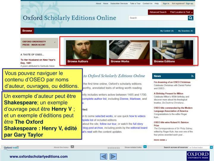 Vous pouvez naviguer le contenu d'OSEO par noms d'auteur, ouvrages, ou éditions.