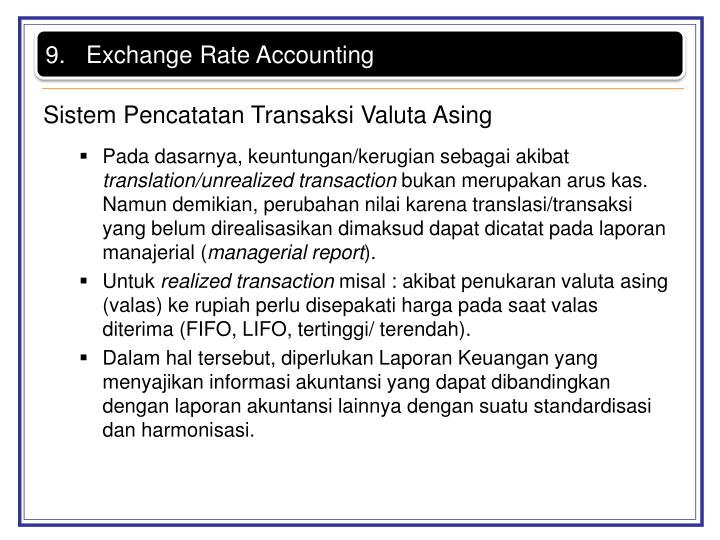 Exchange Rate Accounting