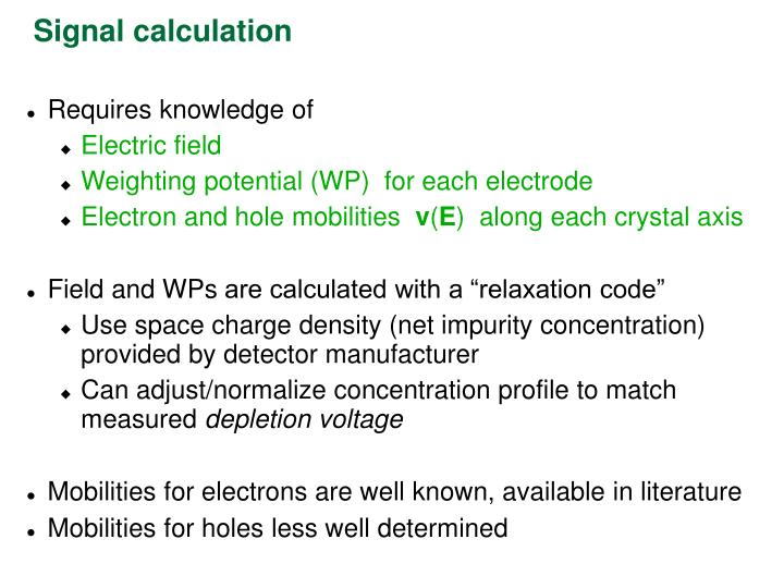Signal calculation