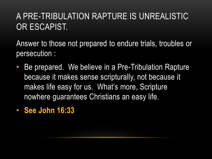 A Pre-Tribulation Rapture is