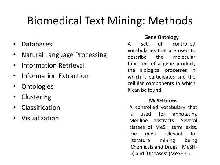 Biomedical Text Mining: Methods