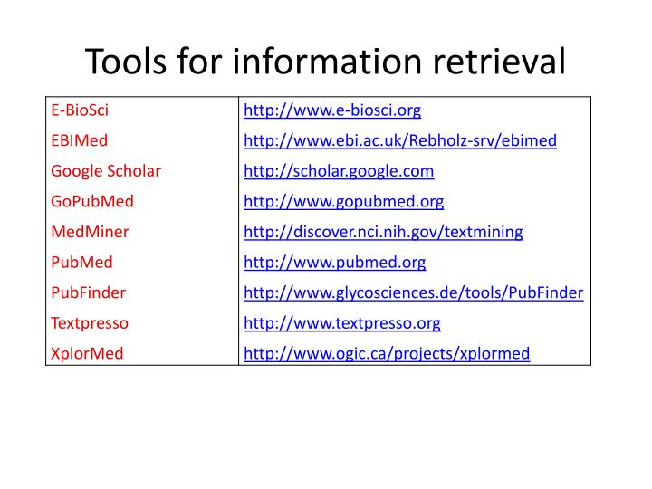 Tools for information retrieval