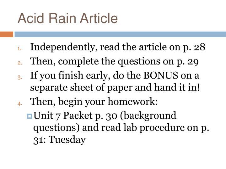 Acid Rain Article