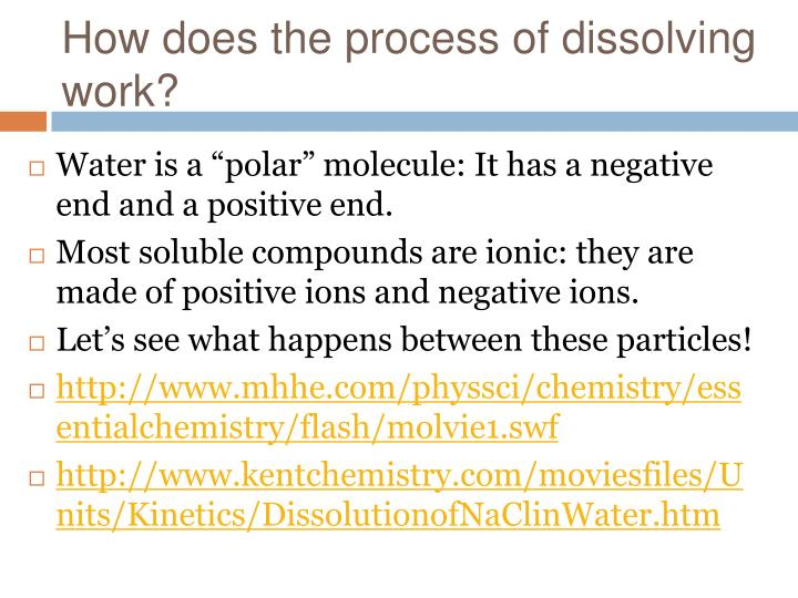 How does the process of dissolving work?