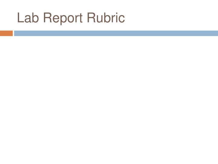 Lab Report Rubric