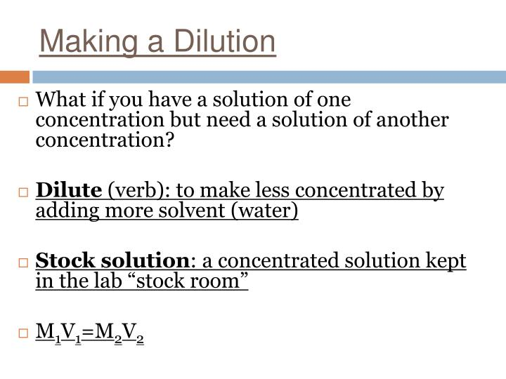 Making a Dilution