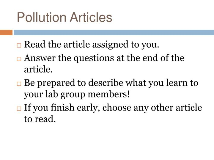 Pollution Articles
