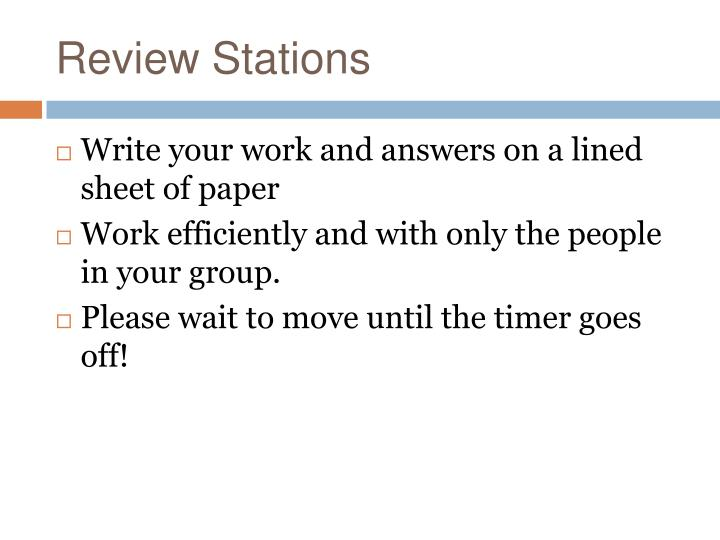 Review Stations