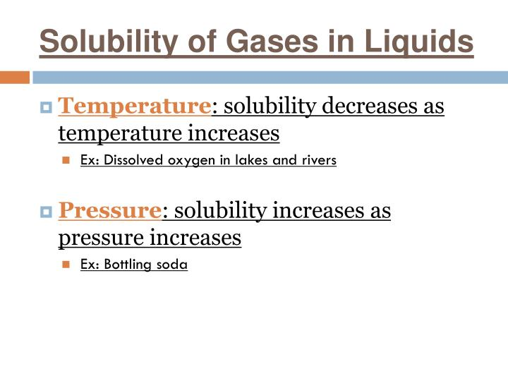 Solubility of Gases in Liquids