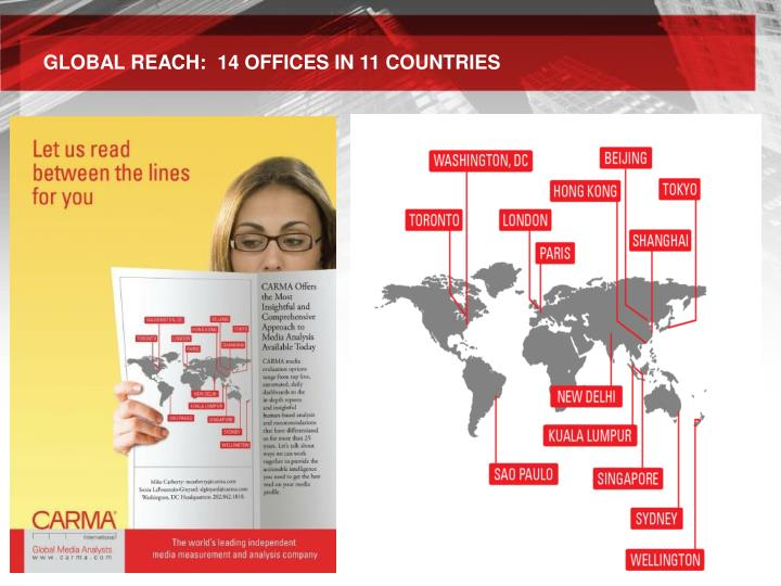 GLOBAL REACH:  14 OFFICES IN 11 COUNTRIES