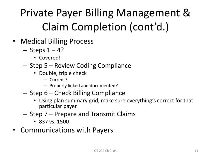 Private Payer Billing Management & Claim Completion (cont'd.)