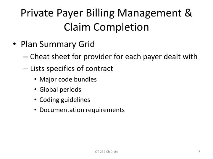 Private Payer Billing Management & Claim Completion