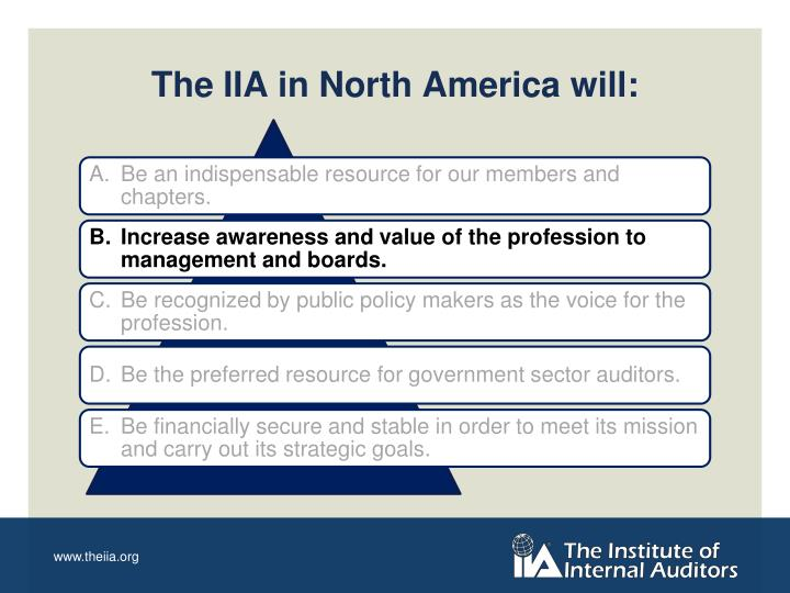 The IIA in North America will: