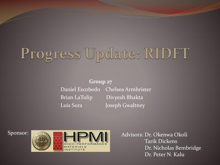 Progress update ridft