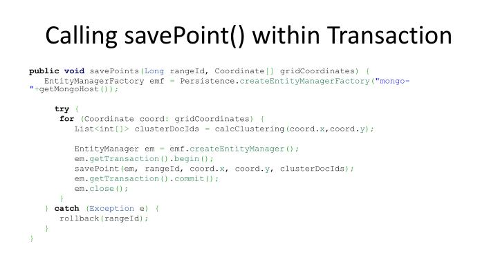 Calling savePoint() within Transaction