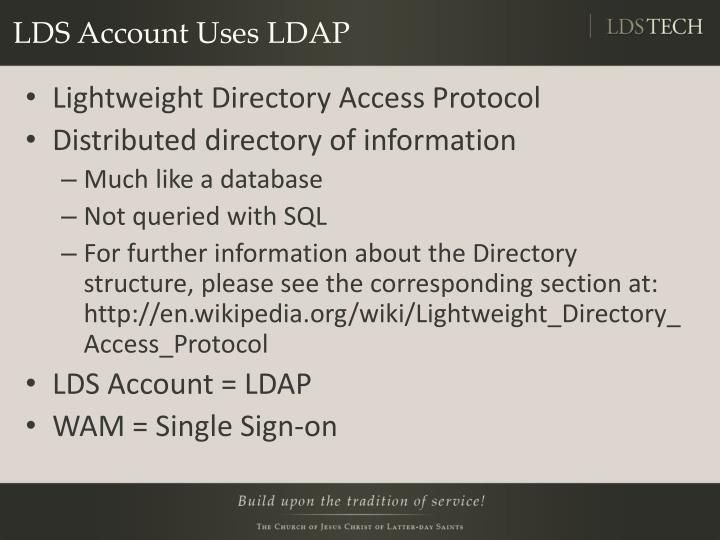 LDS Account Uses LDAP