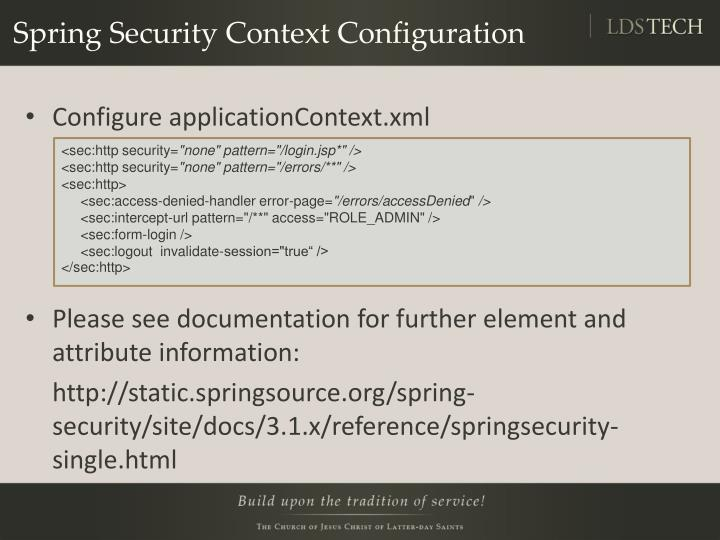 Spring Security Context Configuration