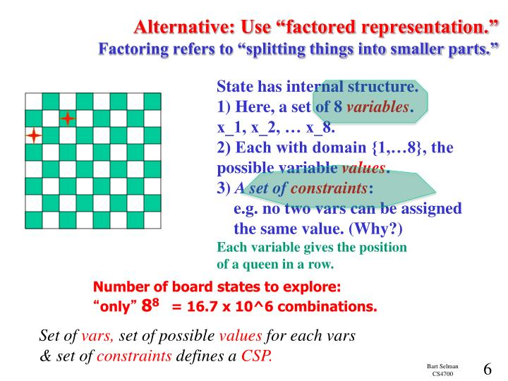 "Alternative: Use ""factored representation."""