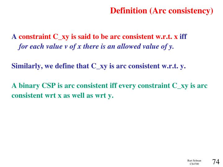 Definition (Arc consistency)