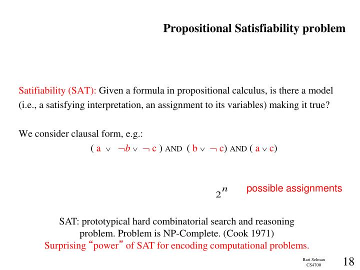 Propositional Satisfiability problem