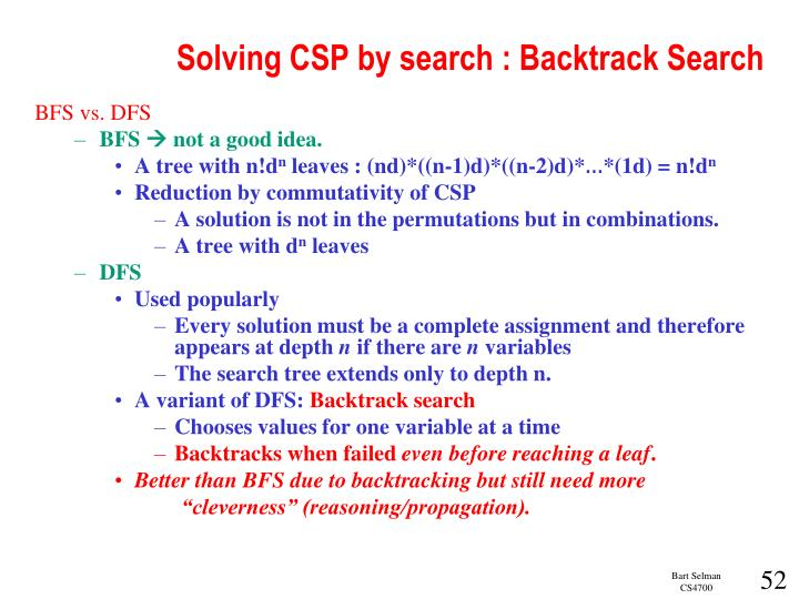 Solving CSP by search : Backtrack Search