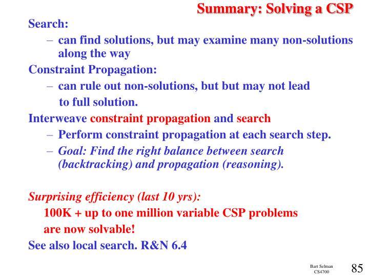 Summary: Solving a CSP