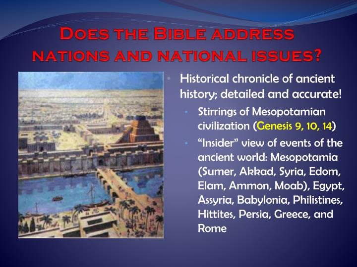 Does the Bible address nations and national issues