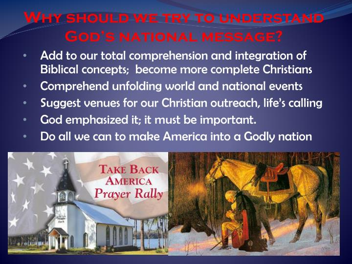 Why should we try to understand God's national