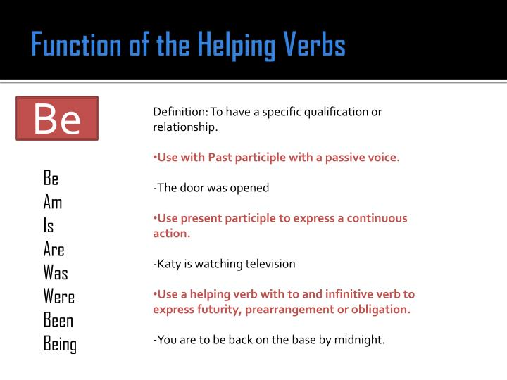 Function of the Helping Verbs