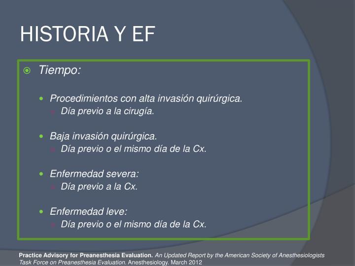 HISTORIA Y EF