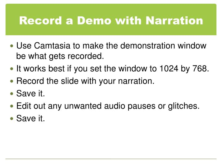 Record a Demo with Narration