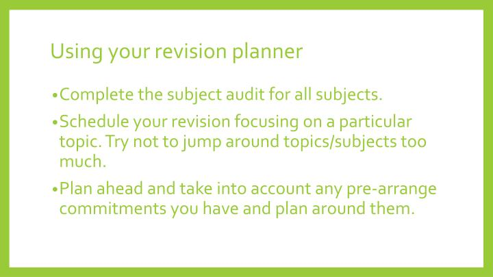 Using your revision planner