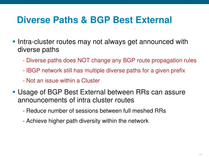 Diverse Paths & BGP Best