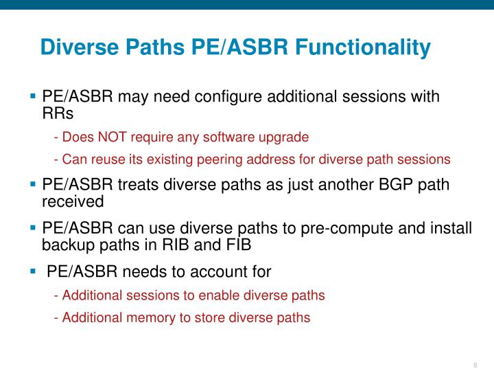 Diverse Paths PE/ASBR Functionality