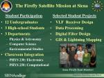 the firefly satellite mission at siena