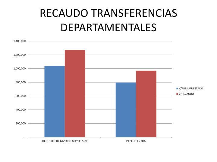 RECAUDO TRANSFERENCIAS DEPARTAMENTALES