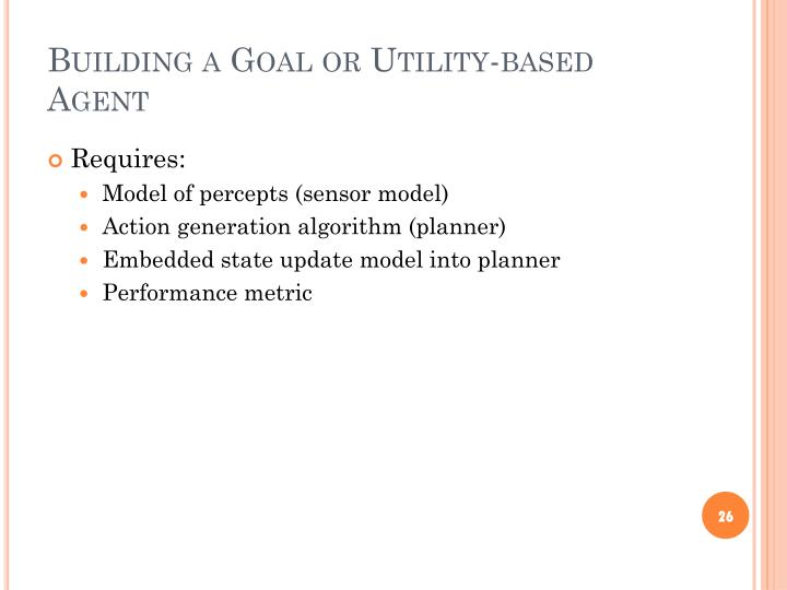 Building a Goal or Utility-based Agent