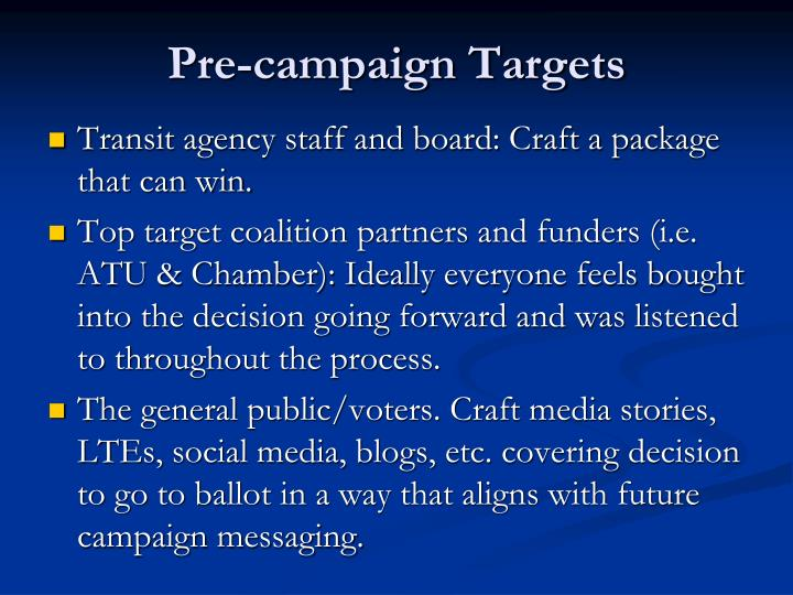 Pre-campaign Targets