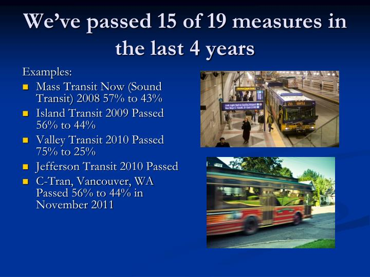 We ve passed 15 of 19 measures in the last 4 years
