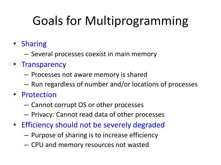 Goals for Multiprogramming