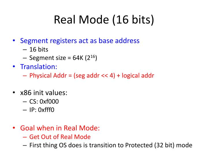Real Mode (16 bits)