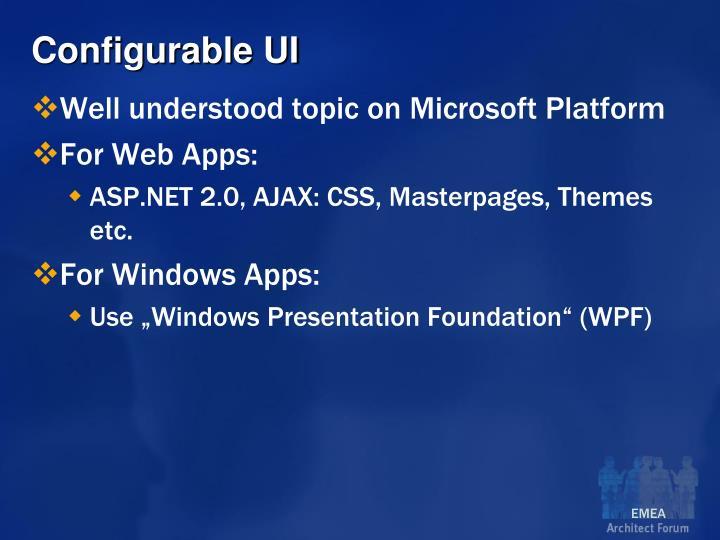Configurable UI