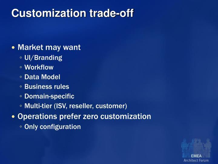 Customization trade-off