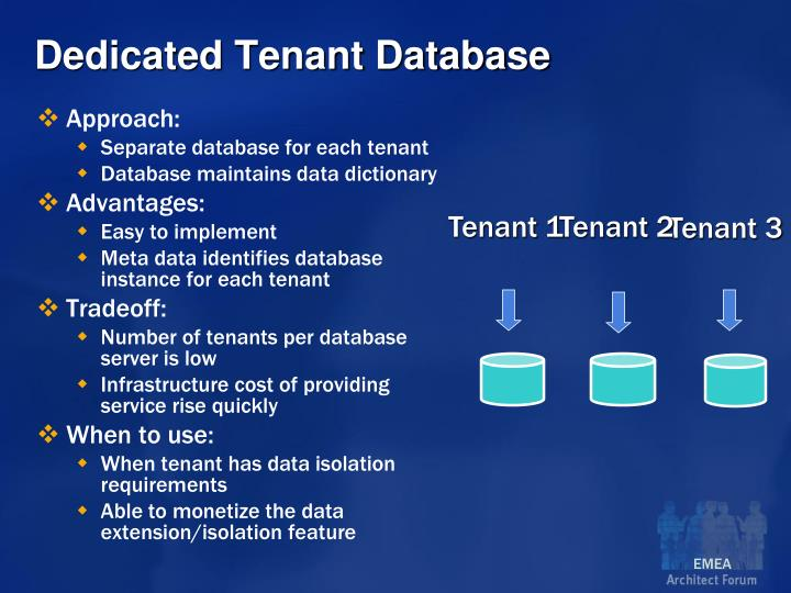 Dedicated Tenant Database