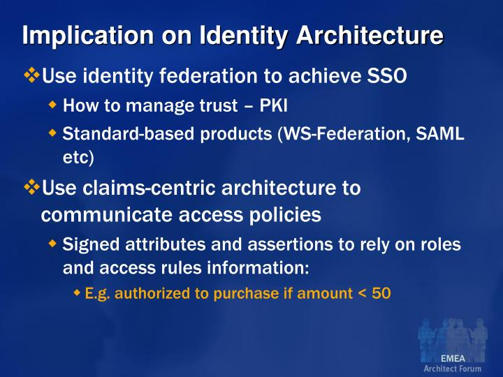 Implication on Identity Architecture