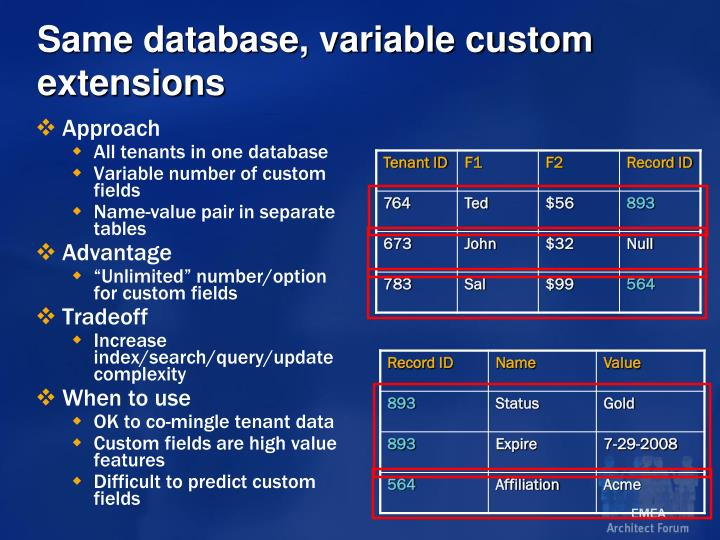 Same database, variable custom extensions