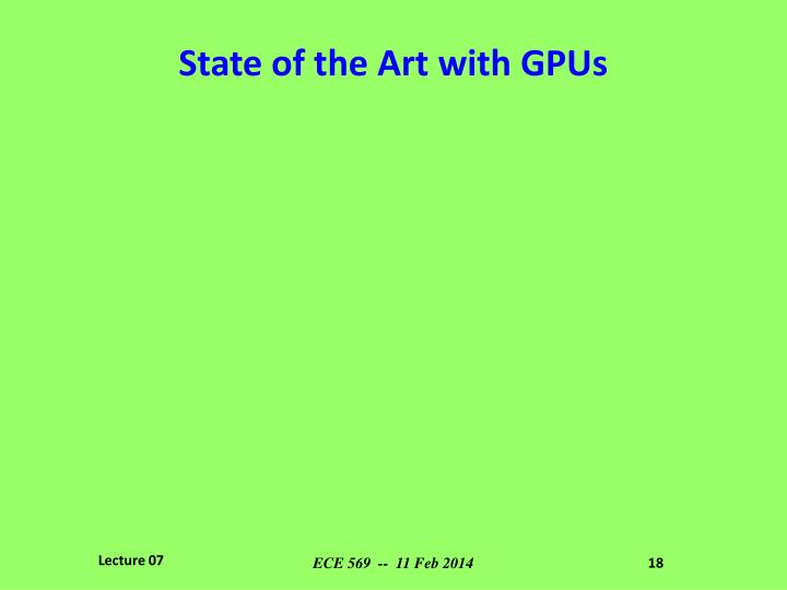 State of the Art with GPUs