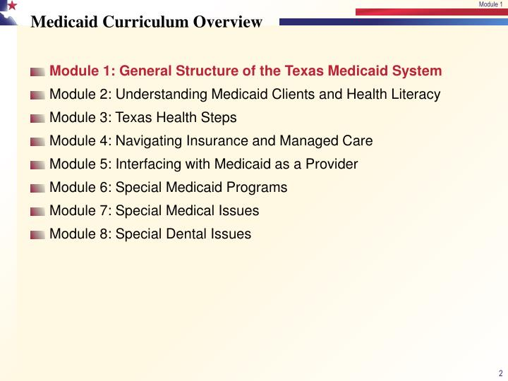 Medicaid curriculum overview