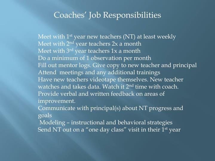 Coaches' Job Responsibilities