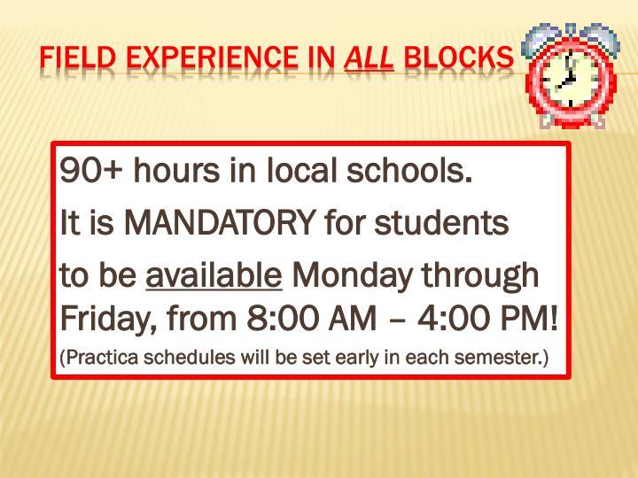 90+ hours in local schools.